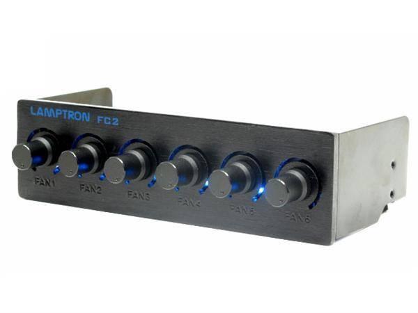 """Lamptron FC2 5.25/"""" Bay 6-channel Fan Controller 45 Watt Per Channel Black"""